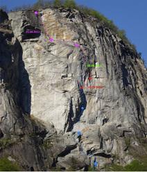 Matteo della Bordella climbing Mito della Caverna, (8a, 300m), Val Bavona