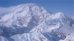 The line chosen by Swedish skier Andreas Fransson down the South Face of Denali.