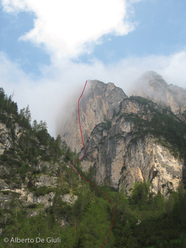 Via Palfrader (VII-, 250m) Col di Specie / Geierwand, Dolomiti di Braies