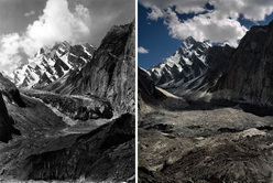 A historic photo taken by Vittorio Sella compared to the modern one taken by Fabiano Ventura