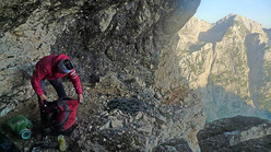 At the bivy on Ulina smer (IX, 1000m, Tomaz Jakofcic and Tina Di Batista August 2011), new route up the North Face of Triglav, Slovenia.