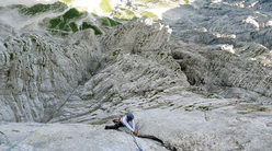 Ulina smer (IX, 1000m, Tomaz Jakofcic and Tina Di Batista August 2011), new route up the North Face of Triglav, Slovenia.