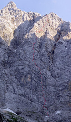 The line of Ulina smer (IX, 1000m, Tomaz Jakofcic and Tina Di Batista August 2011), North Face of Triglav, Slovenia.