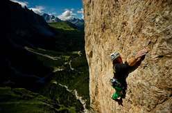 Simon Gietl and Simon Niederbacher on Das Privilig 9- on Piz Ciavazes, Sella, Dolomites.