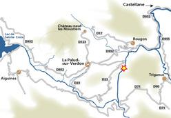 La mappa d'accesso alle Gorges du Verdon.