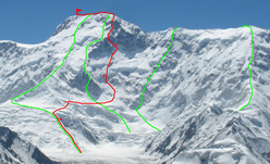 Pik Pobeda, 7439m. From left to right: Abalakov Route, North ridge, 6A, 1956, 2939m.