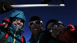 Eneko Pou, Hervé Barmasse and Iker Pou on the summit of Mont Blanc after establishing their new route La Classica Moderna (08/2011)