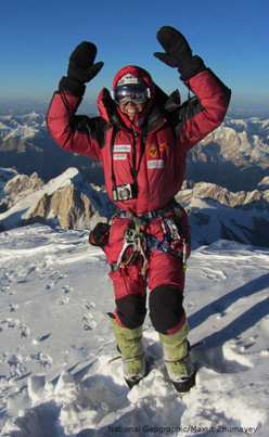 Gerlinde Kaltenbrunner on the summit of K2 (8611m) on 23/08/2011. In doing so she has become the first woman in the world to climb all fourteen 8000m peaks without the use of supplementary oxygen.