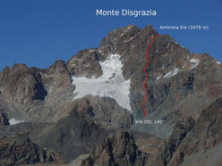 Via del 149°, new route on Monte Disgrazia, Central Alps