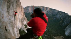 Tommy Caldwell high on El Capitan photographed by Jimmy Chin, Yosemite, USA