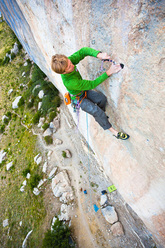 Arnaud Petit climbing Black Bean 8b at Ceuse using trad gear only.