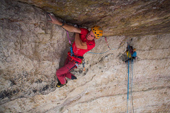 Luka Krajnc climbing Bellavista 8c, Tre Cime di Lavaredo, Dolomites