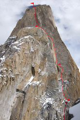 No Fear (6b+, A3, 1120m), Nameless Tower, Trango group, Karakorum, Pakistan