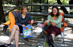 Libby Sauter and Chantel Astorga celebrating after their new speed record of The Nose, Yosemite.