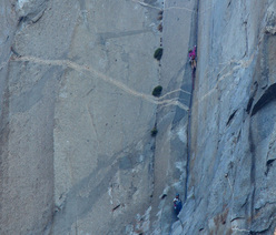 Libby Sauter & Chantel Astorga blasting The Nose, Yosemite, USA