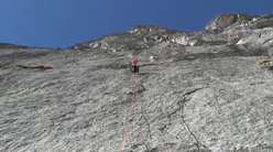 10/02/2011. Daniele Bernasconi and Simone Pedeferri carrying out the first winter ascent of Spada nella Roccia, Qualido