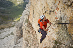 Roberto Canzio climbing Re Artù (300m, 6b) up the Lastoni di Formin in the Dolomites