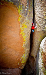 Pete Whittaker on-sighting 'Lucille' 5.13a at Vedauwoo, USA