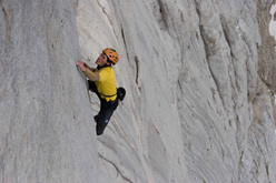 Hansjörg Auer soloing the Fish route, Marmolada, 2007. A week after his free solo the Austrian returned with his brother Matthias and the photographer Heiko Wilhelm to shoot this photo.