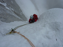 Descending from the summit of K7 West (6934m).