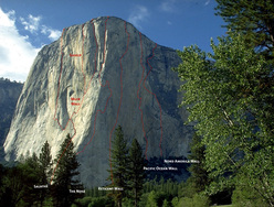 El Capitan with the routes The Salathé Wall, Muir Wall, The Shield, The Nose, Reticent Wall, Pacific Ocean Wall e North America Wall