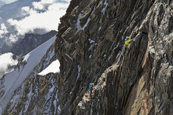Hervé and Marco Barmasse estabishing the route route up the S Face of Monte Rosa
