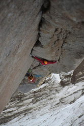 Toni Lamprecht during the first ascent of Serratit, Quvnerit Island, Greenland