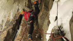 Ines Papert during the first ascent of Quantum of Solace, Great Wall of China, Kyrgyzstan