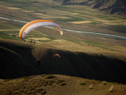 Paragliding above the Djety Orguz valley, Kyrgyzstan