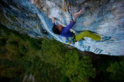 Barbara Raudner climbing Honig 8c, Höllental, Austria