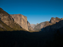 Yosemite valley and The Nose on El Capitan. Half Dome can clearly be seen in the background.