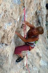 Nicoletta Costi climbing Paris Texas 7c, Odyssey, Kalymnos
