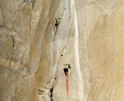 Tommy Caldwell on pitch 5, Dawn Wall, El Capitan, Yosemite