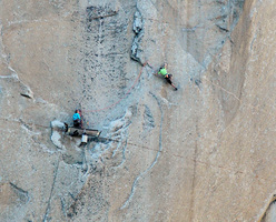 Tommy Caldwell on pitch 9, Dawn Wall, El Capitan, Yosemite