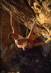 Alessandro Jolly Lamberti making the first ascent of Il Corvo 8c, 1994