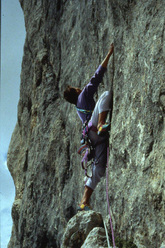Alessandro Jolly Lamberti climbing up the Marmolada in 1985