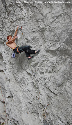 Gabriele Moroni on Coup de bambou 9a which the Italian climber freed in Gétû Valley, China
