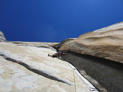 Sean Villanueva scoping for new terrain on El Capitan.