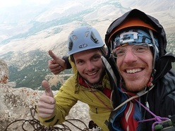 Davide Spini and Matteo Bernasconi on the summit after having established their route Cose Turche up Kizilin Baci, Ala Daglar, Turkey.