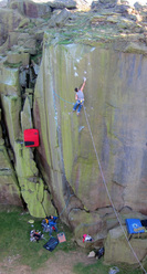 Jordan Buys on Loaded E8 7a at Ilkley Quarry, England