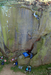 Naomi Buys on Snap Decision E7 6c at Ilkley Quarry, England