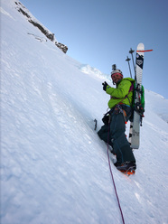 Extreme skiing on Mt Aspiring, New Zealand