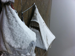 Tommy Caldwell's portaledge tents beneath the first snow in autumn 2011 on El Capitan, Yosemite.