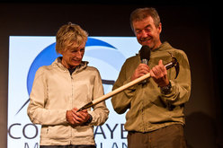 Nives Meroi and Romano Benet at Courmayeur (Italy) during the first evening entitled I am the mountains I have not climbed.