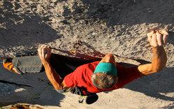 Manolo climbing at Baule, Vette Feltrine, Dolomites
