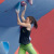 The first stage of the Bouldering World Cup 2014 at Chongqing in China: Juliane Wurm