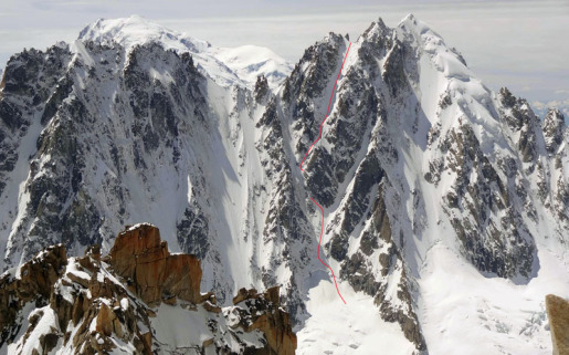 Col Armand Charlet, NE couloir ski and snowboard descent