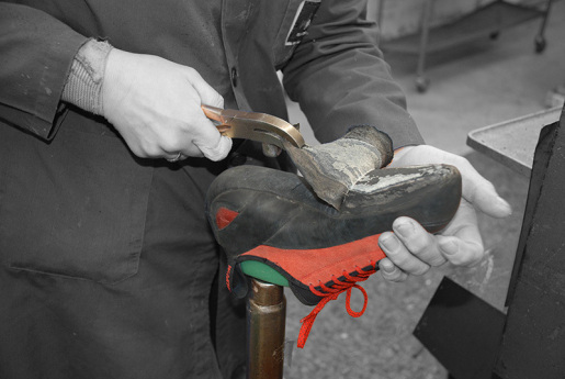 The art of resoling a climbing shoe