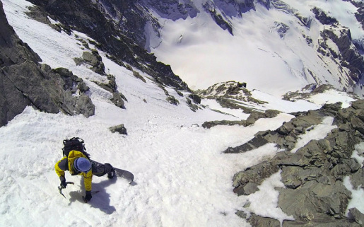 Matterhorn Zmutt Ridge West Couloir skied by Capozzi, Herry and Civra Dano