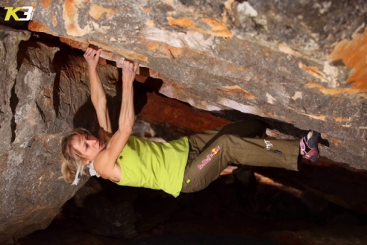 Angela Eiter boulders 8B at Rocklands in South Africa